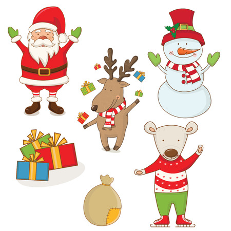 christmas characters: Cartoon christmas characters . vector Illustration