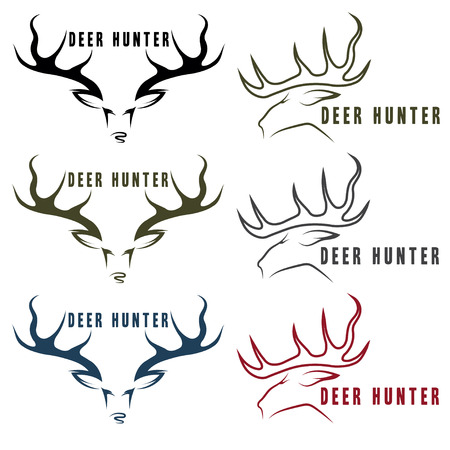 venado: emblemas ciervos cazador vector conjunto vendimia