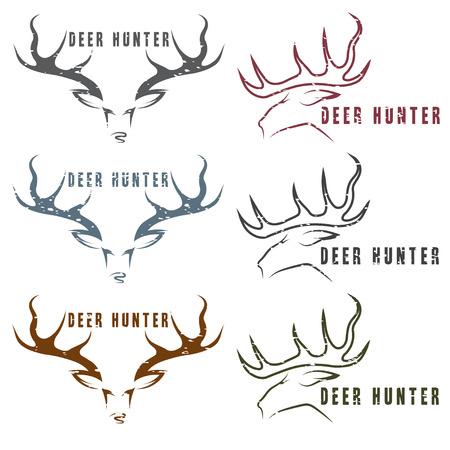 black deer: deer hunter vector vintage grunge emblems set