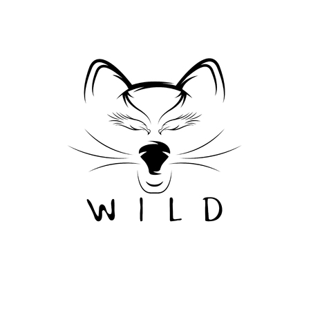 wild cat: wild cat with eagle eyes vector design template