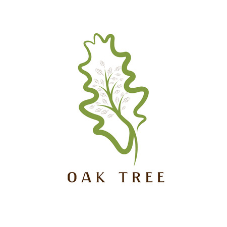 vector illustration of oak tree in the leaf Vettoriali