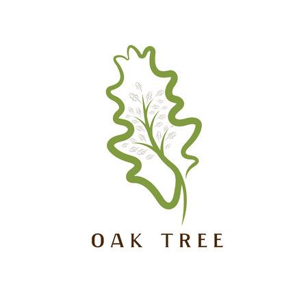 vector illustration of oak tree in the leaf Stock Illustratie