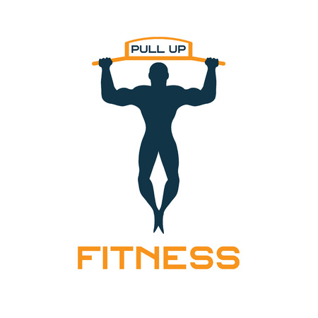 over the shoulder: fitness pull up bands vector illustration