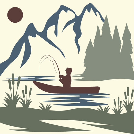 spawning: vintage vector illustration of fishing theme