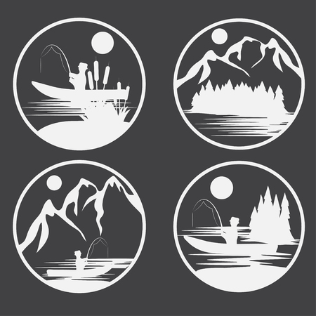 spawning: set of vintage vector labels with fishing theme Illustration
