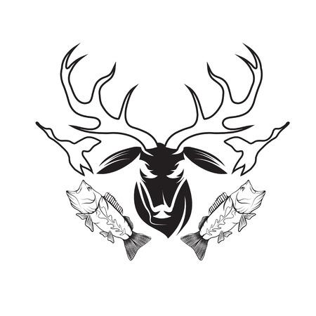drake: hunting and fishing vintage emblem vector design template