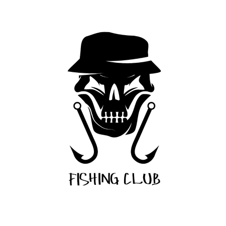 fishing club emblem with skull in panama hat Ilustrace