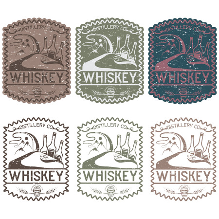 bourbon whisky: vintage grunge vector labels of whiskey with copper whiskey still and mountains