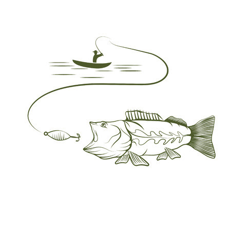 big mouth: illustration of fisherman in a boat and big mouth bass