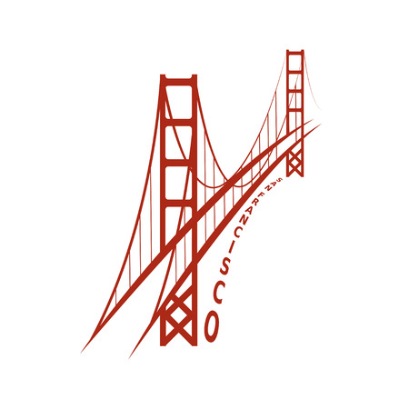 skyline van San Francisco vector ontwerpsjabloon Stock Illustratie