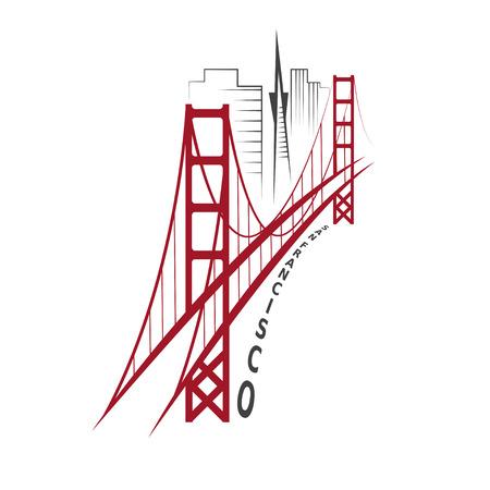 San Francisco ベクター デザイン テンプレートのスカイライン  イラスト・ベクター素材