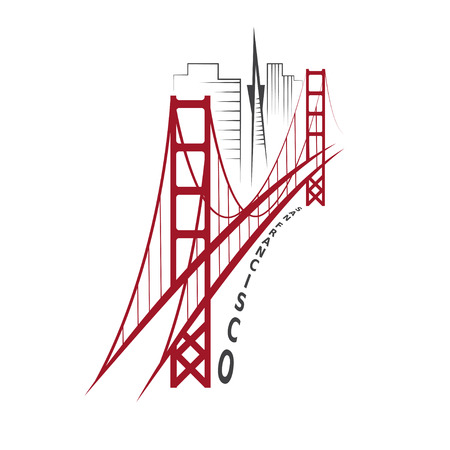 skyline of San Francisco vector design template Иллюстрация