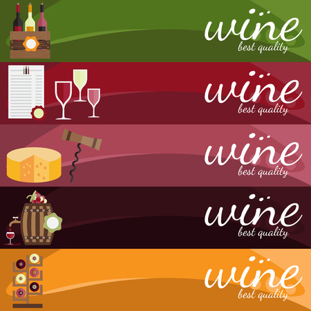 food and wine: flat design vector illustration of wine theme