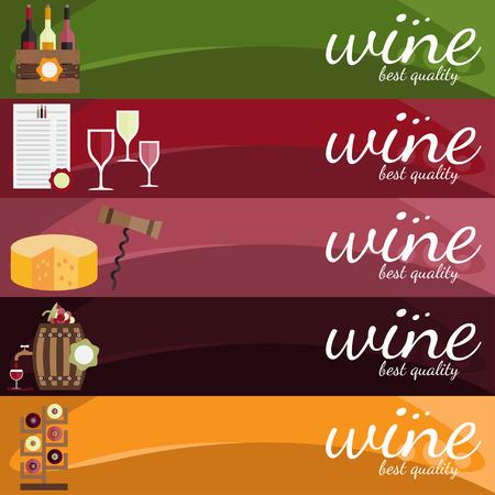 wine label design: flat design vector illustration of wine theme
