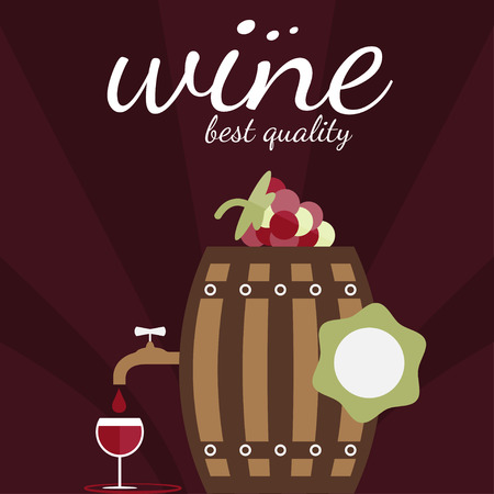 wine and food: flat design vector illustration of wine theme