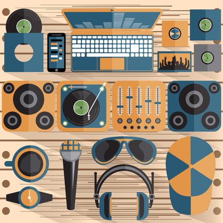 console table: flat design vector illustration of dj and music theme