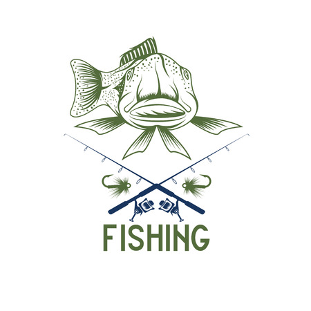 largemouth: vintage funny fishing vector design template
