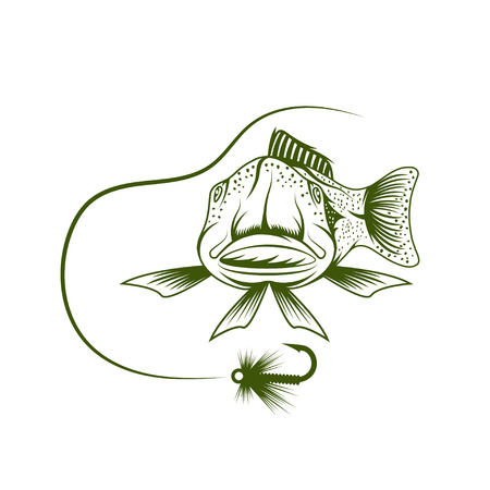 spawning: funny trout and lure vector design template