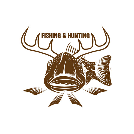 drake: fishing and hunting funny vector illustration with horned fish