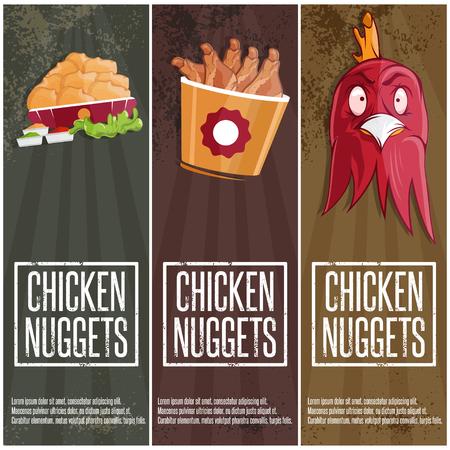 nuggets pollo: tiempo de pollo vector de comida rápida banners