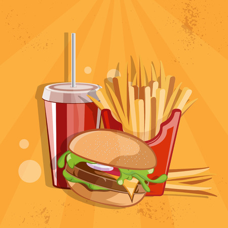 fried potatoes: fast food vector illustration with burger,fried potatoes and cola