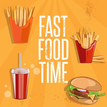 comida rapida: rápida ilustración vectorial comida con hamburguesas, patatas fritas y refresco de cola