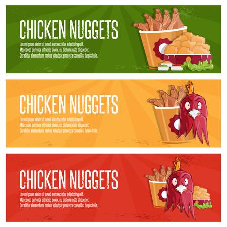 chicken meat: chicken time fast food vector banners
