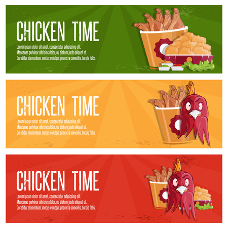 comb out: chicken time fast food vector banners