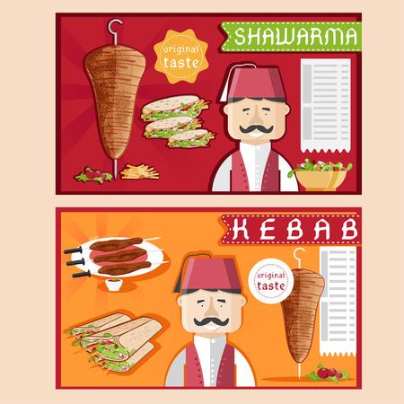 doner kebab vector illustration with chef,shawarma and salad