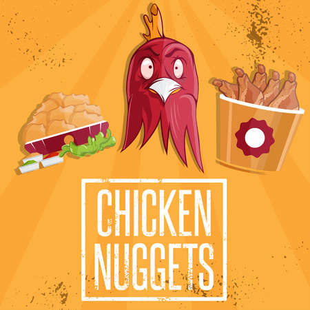 tubule: chicken time fast food vector illustration