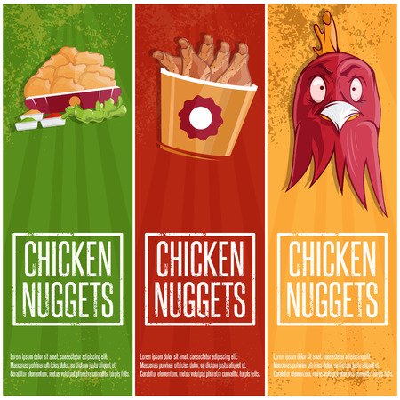 fried: chicken time fast food vector banners