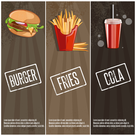 fried potatoes: fast food vector banners with burger,fried potatoes and cola Illustration