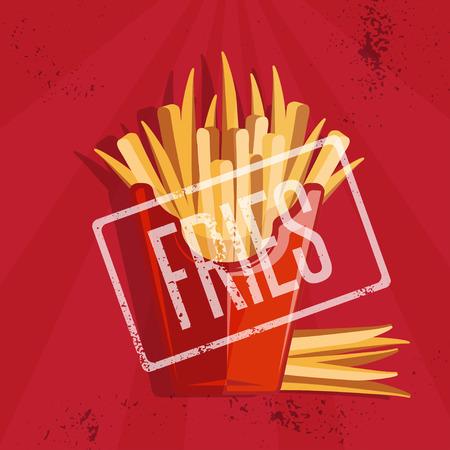 fried potatoes: fast food vector illustration with fried potatoes Illustration