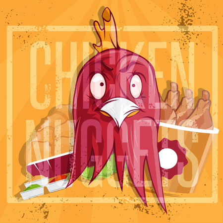 nuggets: chicken time fast food vector illustration