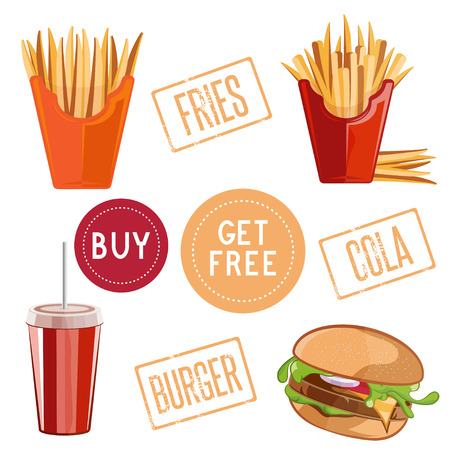 burger and fries: fast food vector illustration with burger,fries and cola