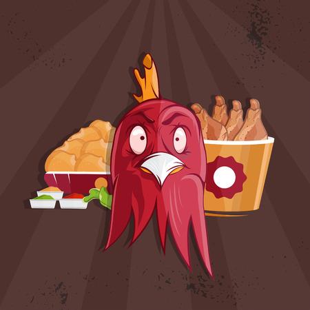fritto: pollo fritto fast food illustrazione vettoriale Vettoriali