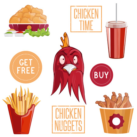 appetizers: fried chicken fast food vector illustration