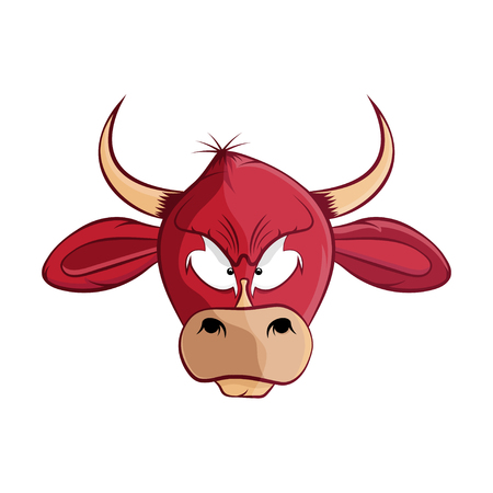 cow head: cartoon bull head vector illustration Illustration