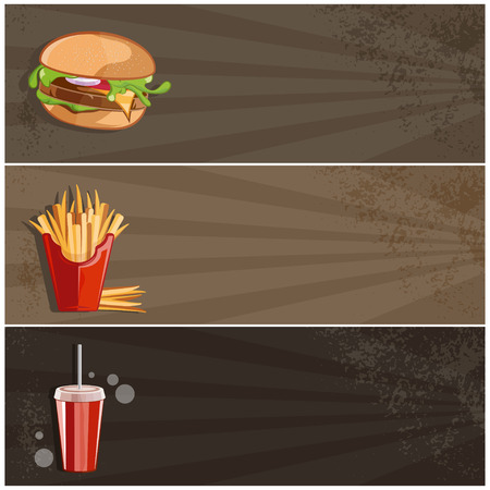 burger with fries: fast food vector banner with burger,fries and cola