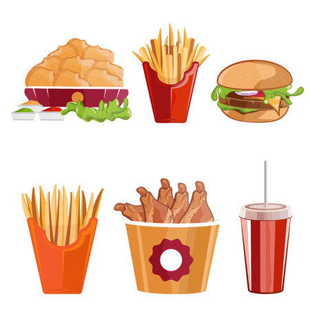 burger cartoon: fried chicken,fries and burger fast food vector illustration