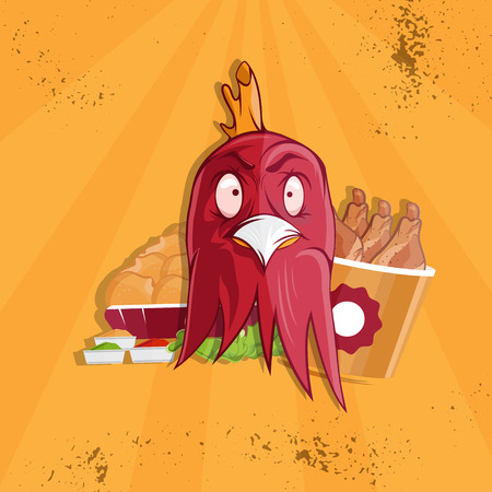 angry person: fried chicken fast food vector illustration