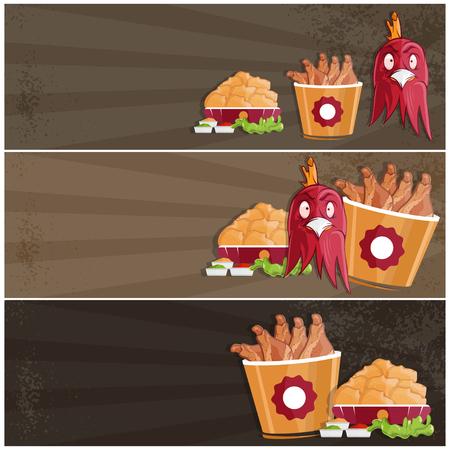 nuggets pollo: pollo frito de comida rápida vector banners Vectores