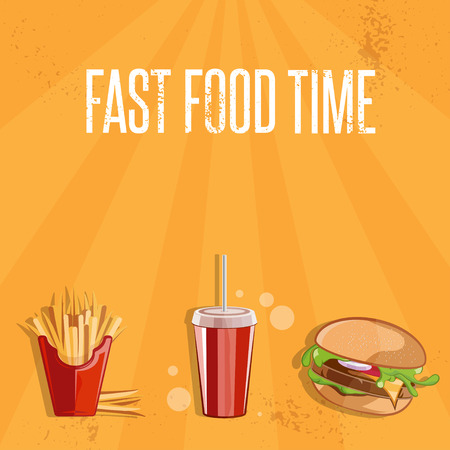 burger with fries: fast food vector illustration with burger,fries and cola