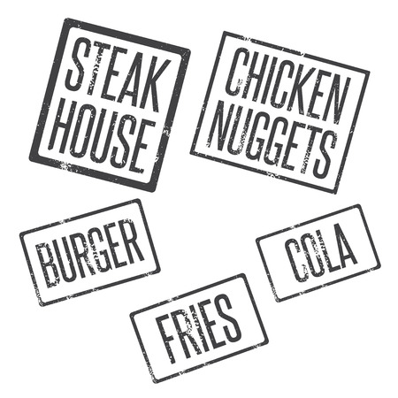 nuggets: grunge stamps of fast food theme