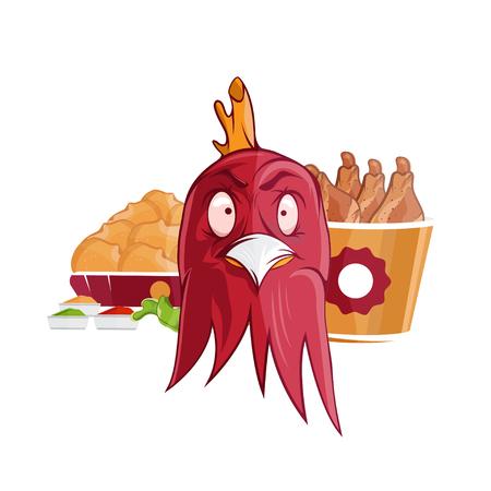 personas enojadas: pollo frito de comida rápida ilustración vectorial