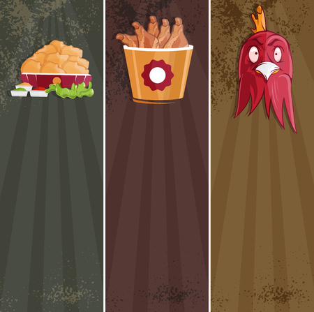 fried food: fried chicken fast food vector banners