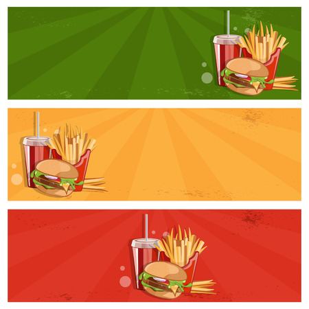 burger and fries: fast food vector banner with burger,fries and cola