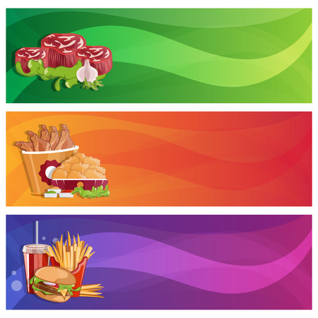 tubule: fried chicken,fries,steaks and burger vector banners set