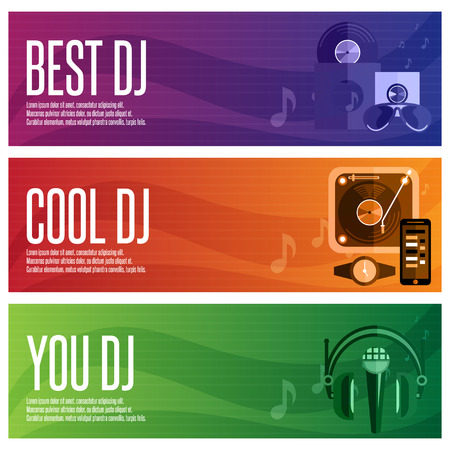 mixing console: vector banners set of dj and music theme