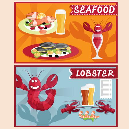 mariscos: langosta y mariscos restaurante vector ilustración de dibujos animados
